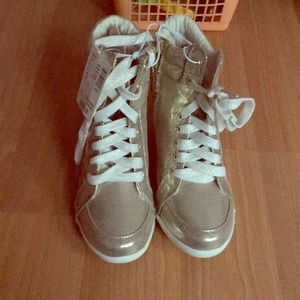 Justice gold wedge sneakers